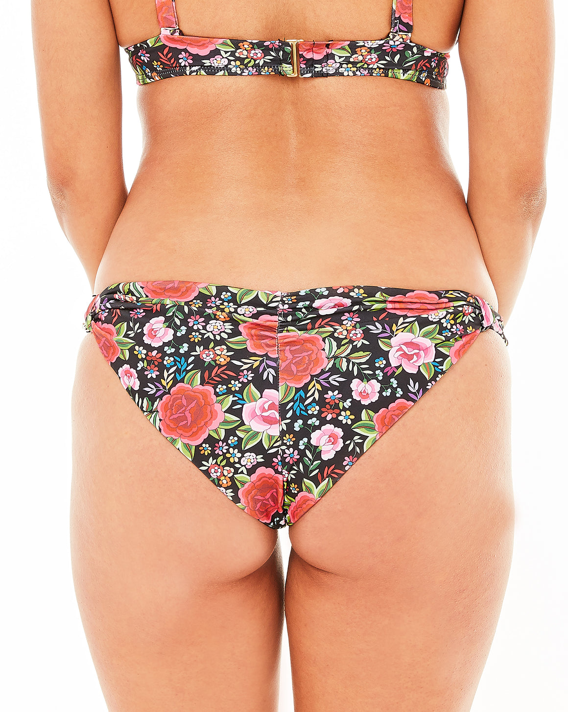 Reversible spanish rose print bottom with adjustable sliders and shirring backside