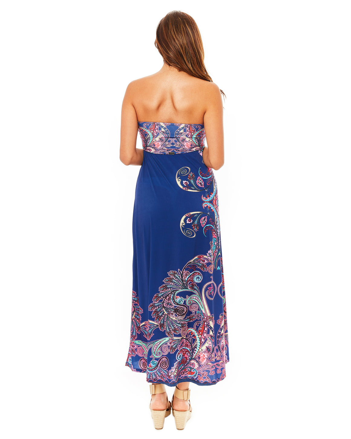 Tango Dress Navy Blue Floral Maxi Dress Long Strapless Tube Top Flowy Cover up
