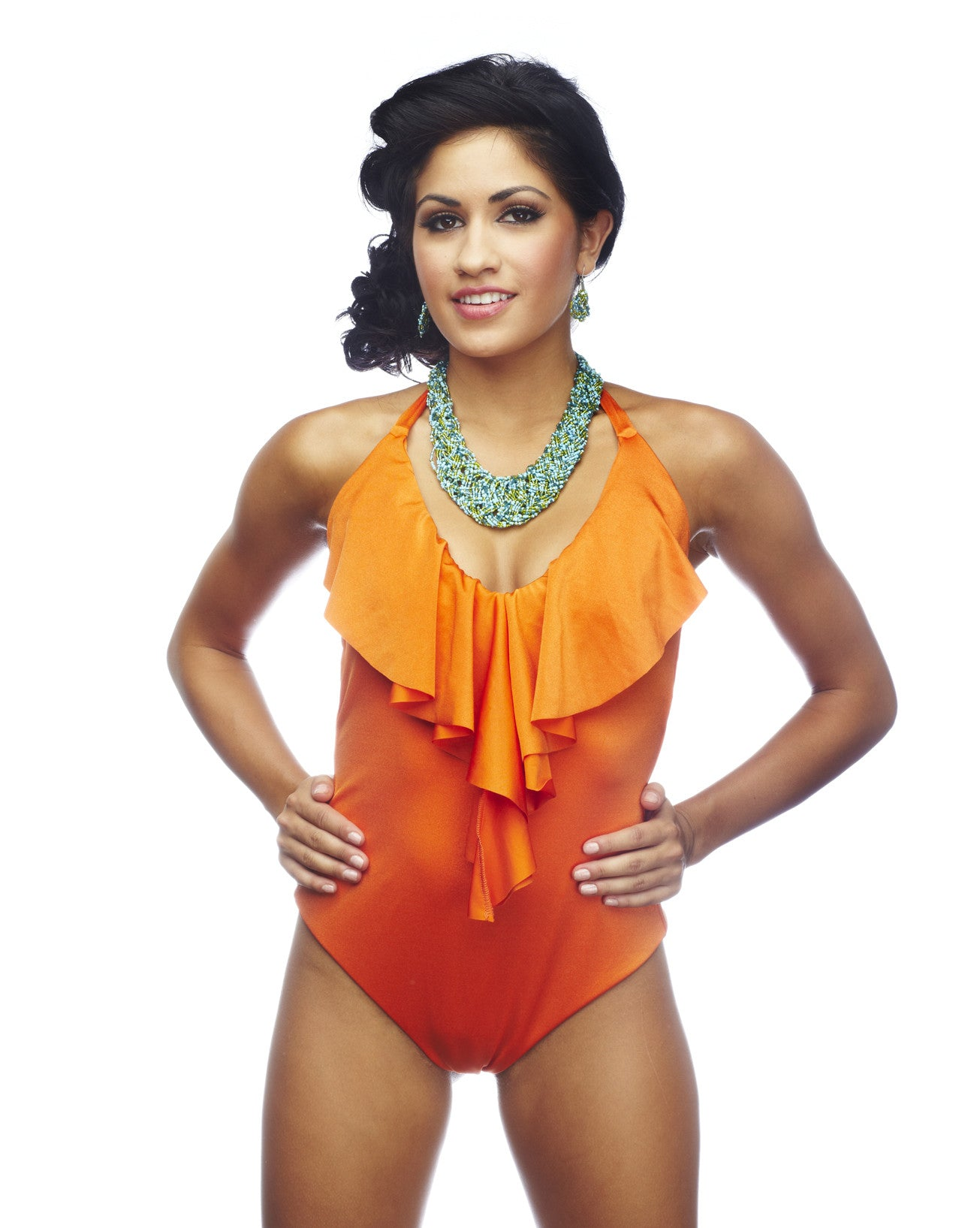 f920694aa7e96 Rumba Ruffles Orange One Piece Swimsuit - NICOLITA