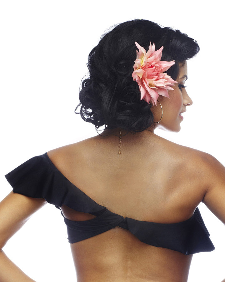 Rumba Ruffles Black One Shoulder Bikini Tube Top