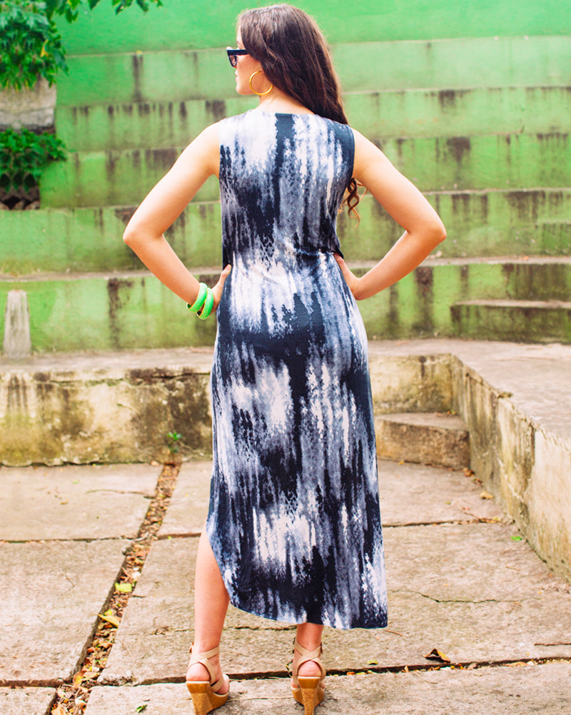 Bomba Dress - Gray Tie Dye