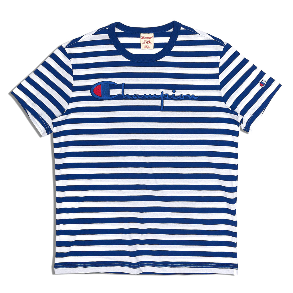 Champion - Striped Script Logo Tee