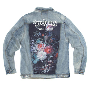 Profound Aesthetic - Printed Floral Patch Denim Jacket