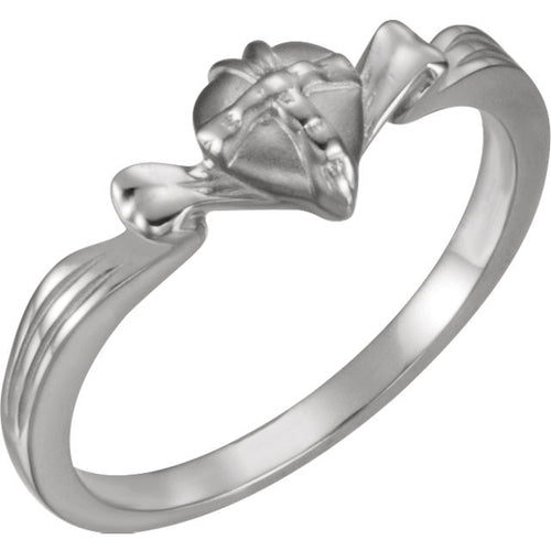 Sterling Silver The Gift Wrapped Heart-Chastity Ring