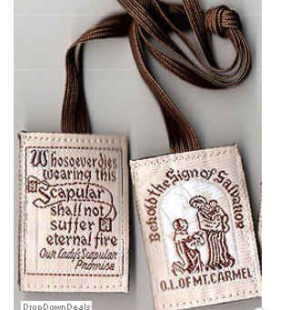 Brown Wool Scapular-Available with or without medals