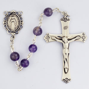 Genuine Amethyst Rosary Boxed - 560ASF