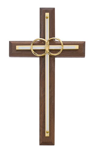 6 1/2in. Walnut with Overlay Wedding Cross Boxed - 71-12