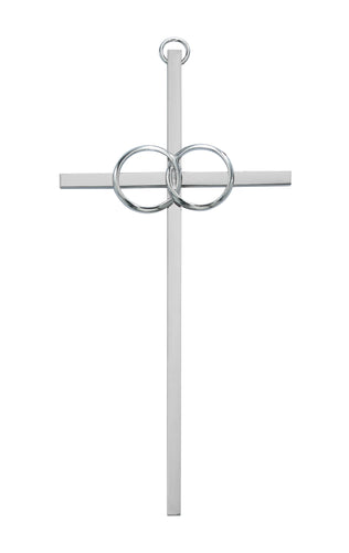 6in. Polished Aluminum Wedding Cross Boxed - 71-43600