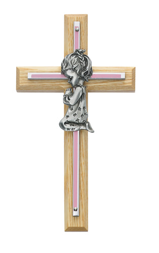 7in Oak with Baby Pink Girl Praying Cross Boxed - 73-05