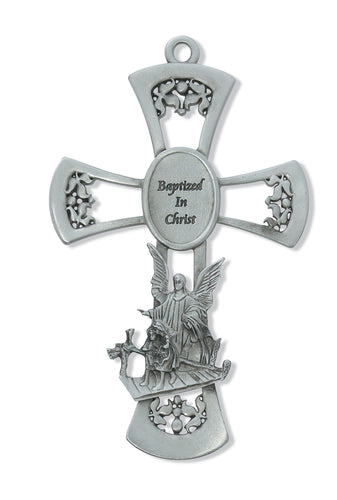 6in Pewter Guardian Angel Cross - 73-14