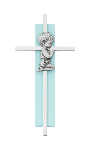 6in Blue Wood Praying Boy on Silver Cross Boxed  - 73-60