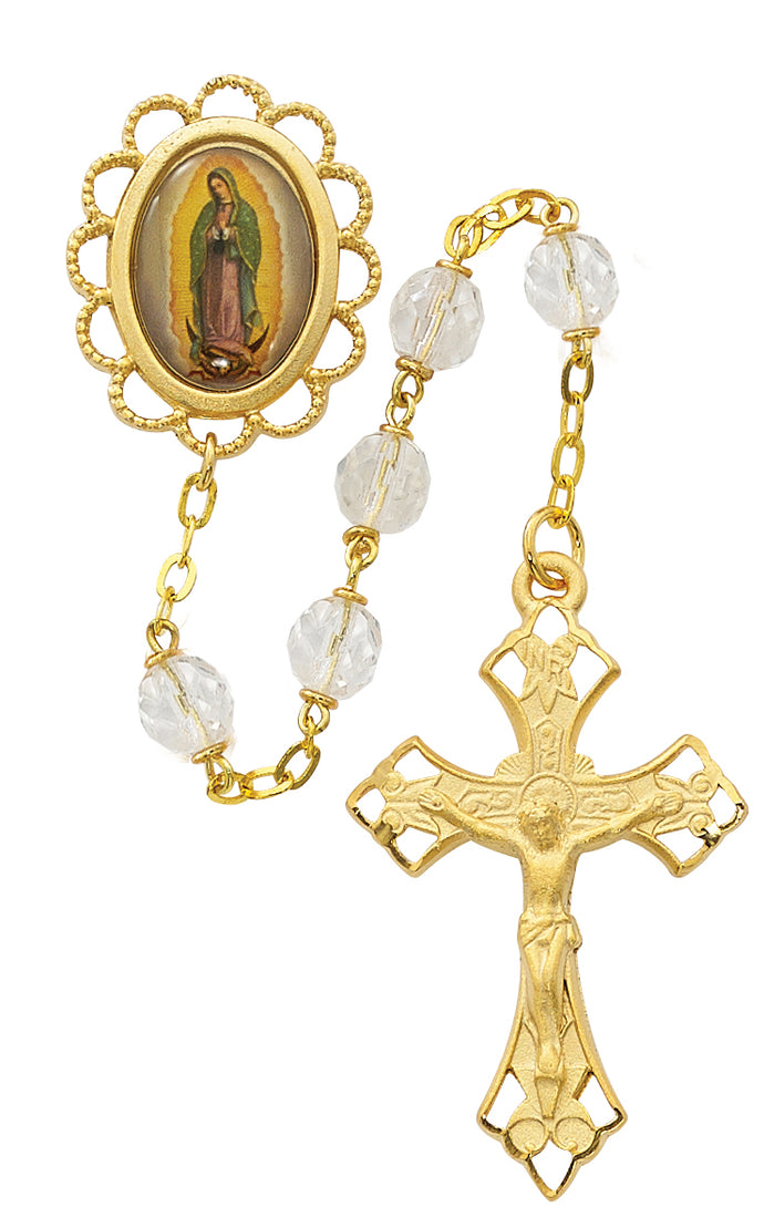 Clear Glass Guadalupe Rosary Boxed
