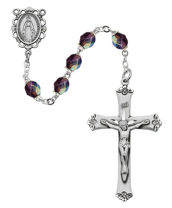 Purple Glass February Rosary Boxed - 875L-DAF