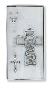 Guardian Angel Crib cross and Rosary Set Boxed