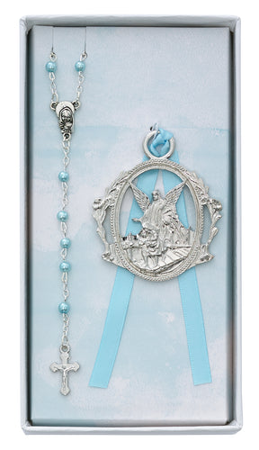 Angel Crib Medal and Blue Rosary Set Boxed - BS16