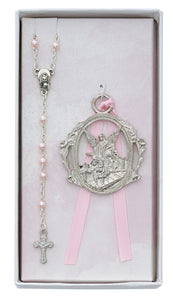 Angel Crib Medal and Pink Rosary Set Boxed