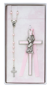 Pink Crib Cross and Pink Rosary Set Boxed