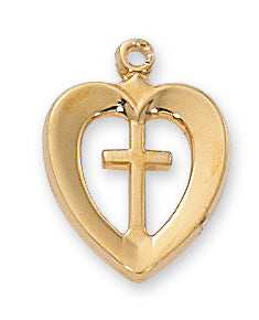 Gold over Sterling Heart with Cross Pendant - Cross - Heart