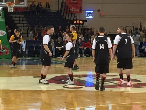 Maine Special Olympics Basketball wearing mansocks