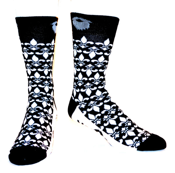 Black and White Fleur De Lis ManSocks