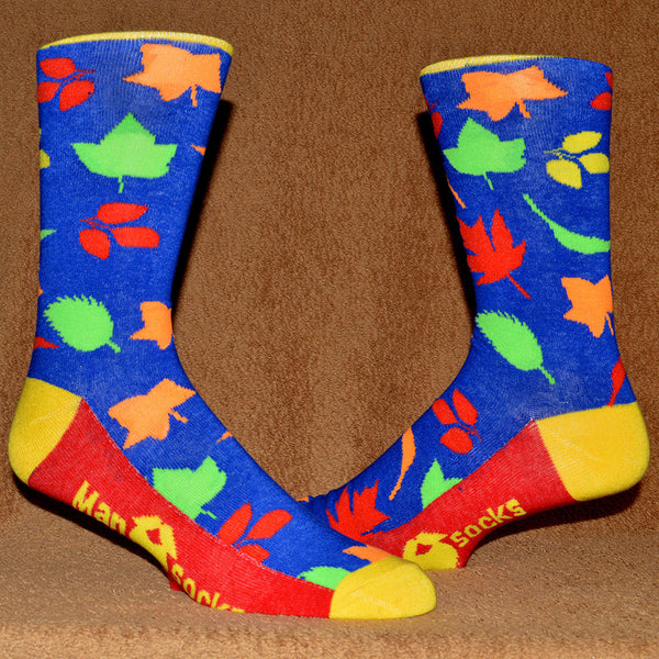 brightly colored autumn leaves sock