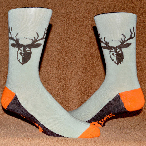 hunter orange and bucks head sock