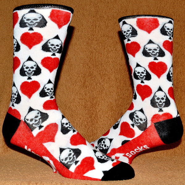 spades and hearts and skulls sock