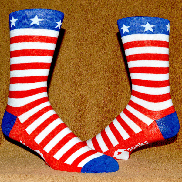 red, white, and blue stars and stripes american flag mansock