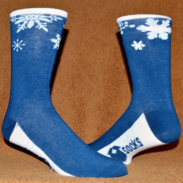 blue and white snowflake sock