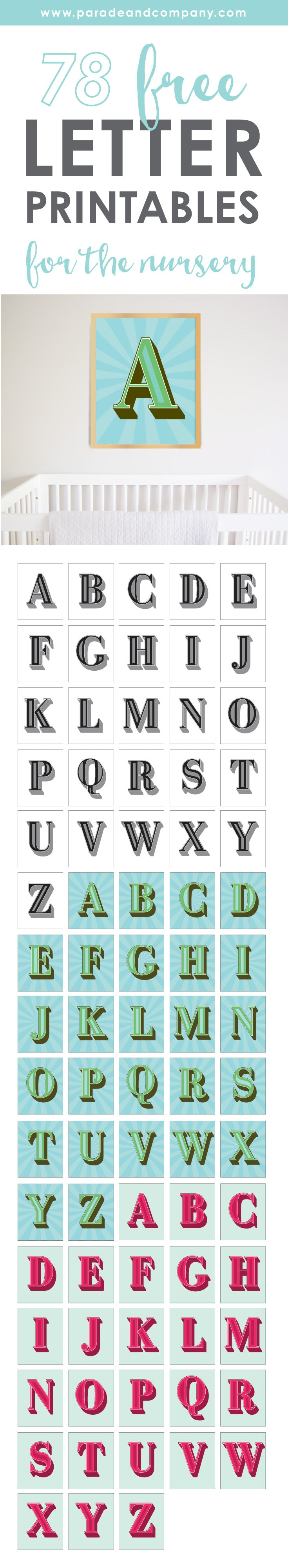 Free Nursery Printables Download Parade And Company Free Letter ...