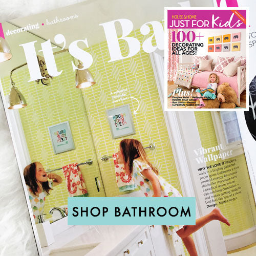 Brush Your Teeth art print in kids bathroom House and Home magazine