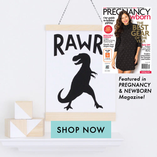 Pregnancy and Newborn Magazine features Black and White dinosaur kids wall art from Parade and Company