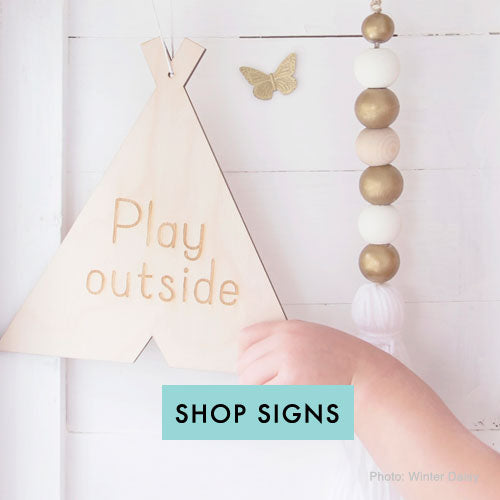 Play Outside decorative wood sign for kids