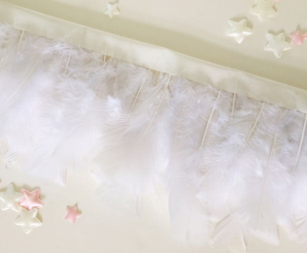 Completed feather garland DIY