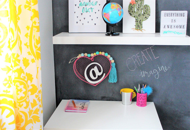 Closeup of girls room desk | drop garland by Jae to the Wall