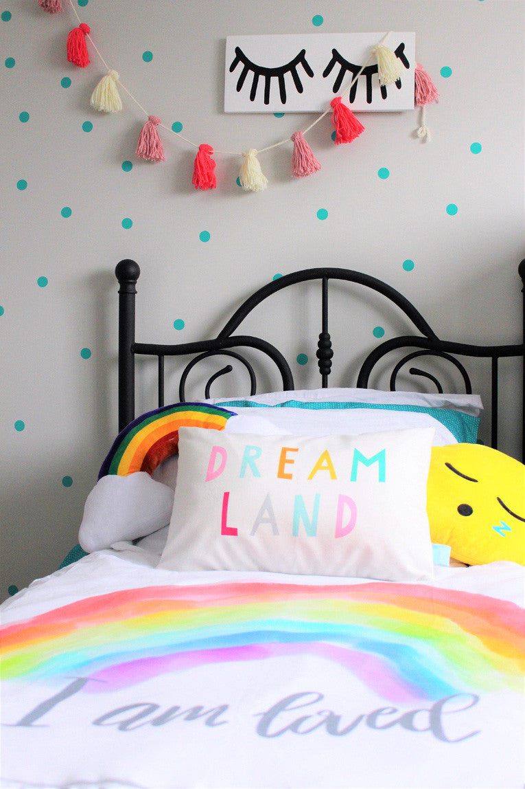 Fun eclectic girls room with Parade and Company Dreamland pillow