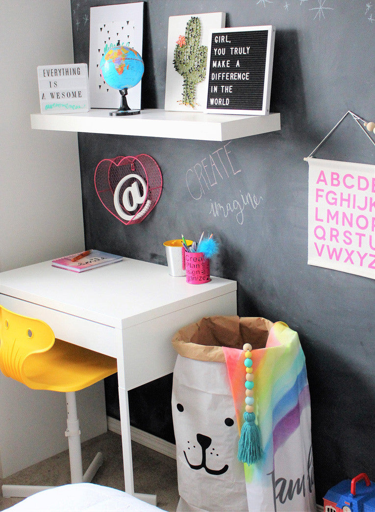 Fun eclectic girls room desk area with chalkboard wall room inspiration