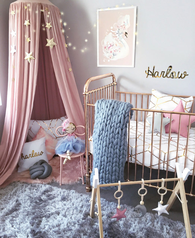 Metallic Girls Nursery Decor by Hudson and Harlow Top Trends Kids Bedrooms 2017