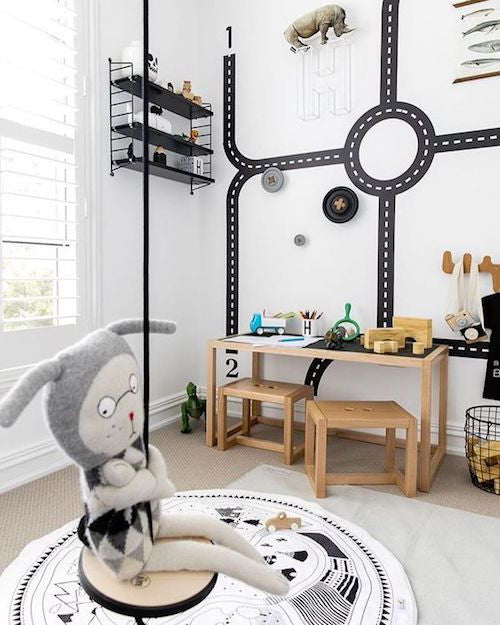 Rope Swing in Monochrome Modern Kids Room Inspo | Parade and Company Blog