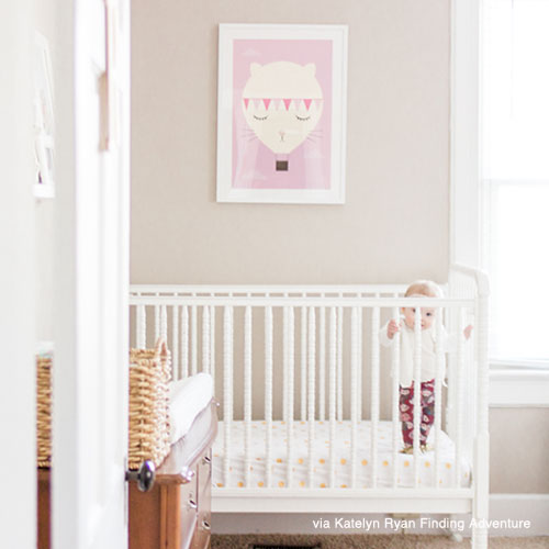 Nursery wall art print over crib
