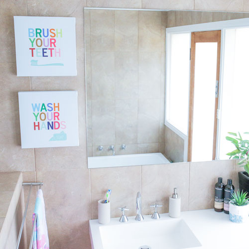 Bathroom wall art for kids Brush Wash