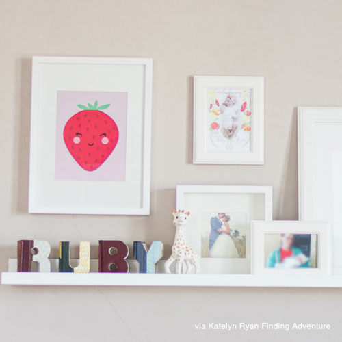 Cute nursery art print shelfie