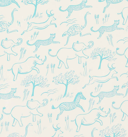 Rifle Paper Co. safari pattern wallpaper for baby nursery