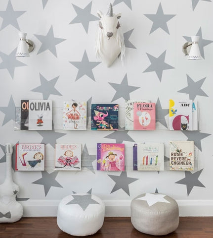 Sissy and Marley silver star wallpaper for baby nursery or kids room