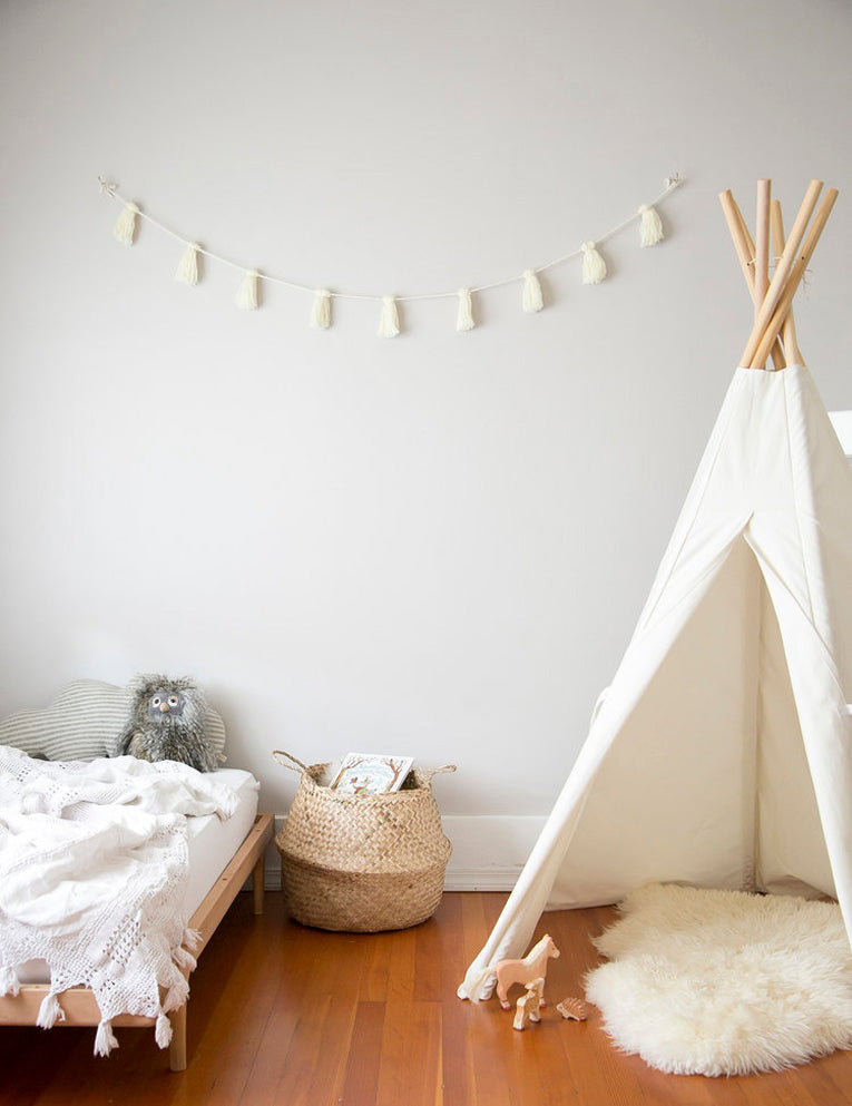 Jae to the Wall Baby Tassel Garland Styled by Winter Daisy Kids Interiors
