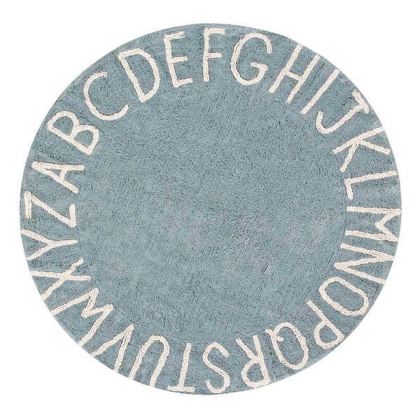 ABC Round Washable Rug – Vintage Blue