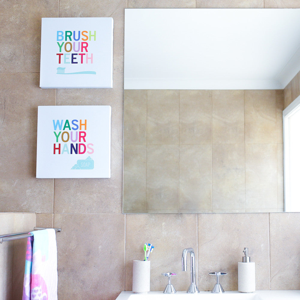 ... Kids Washroom Art; Bathroom Signs Set Of Wall Art