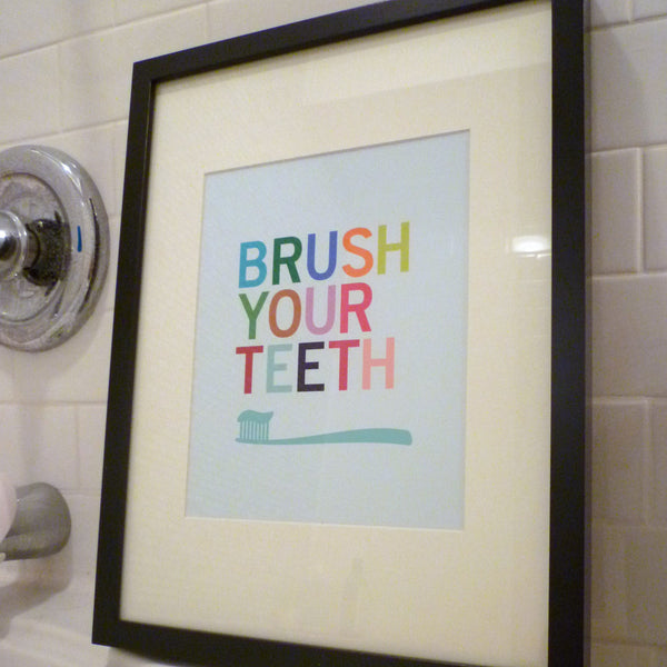 Brush Your Teeth Bathroom Wall Art Print Parade And