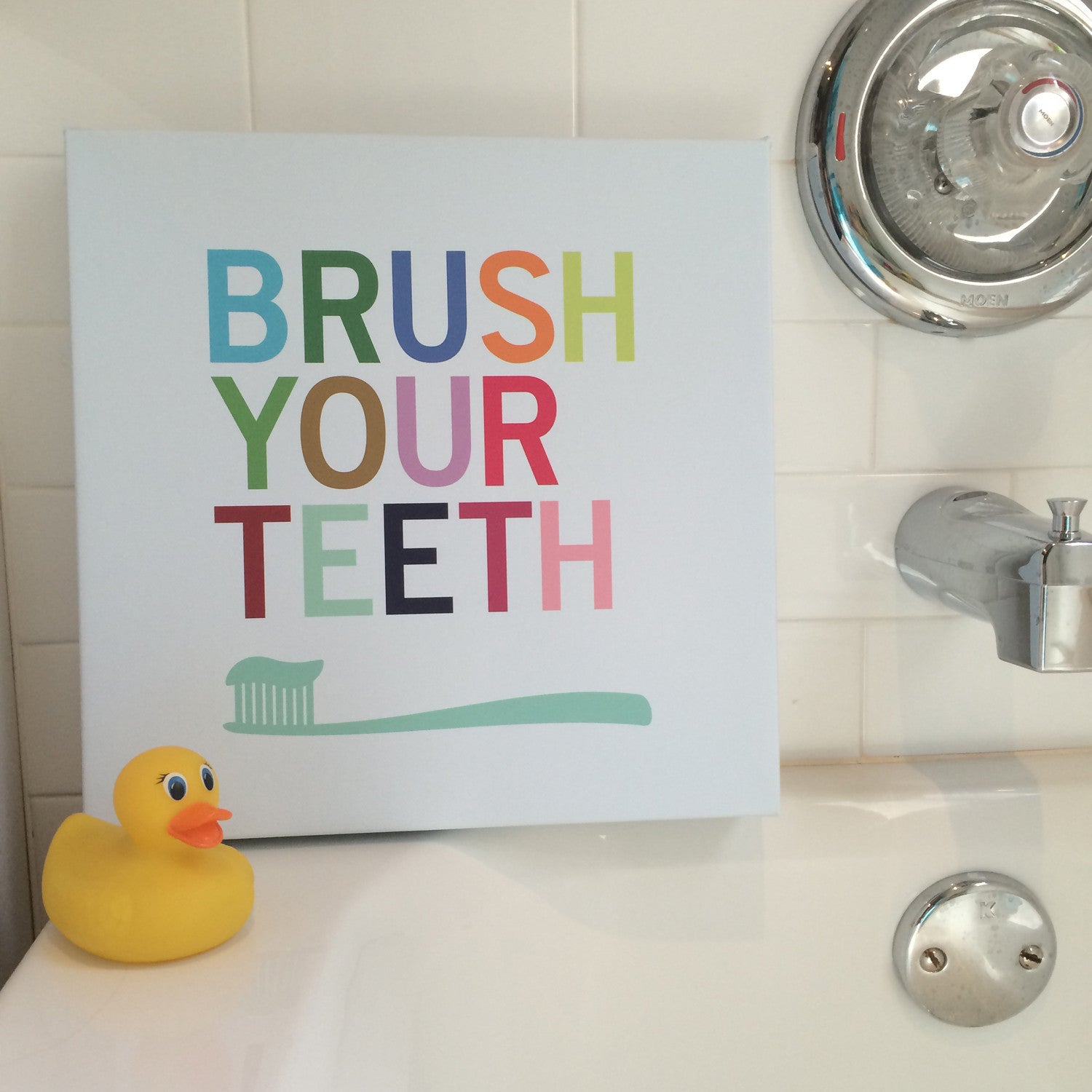 Brush Your Teeth Canvas Bathroom Art Restroom Art Print Kids Decor Ideas