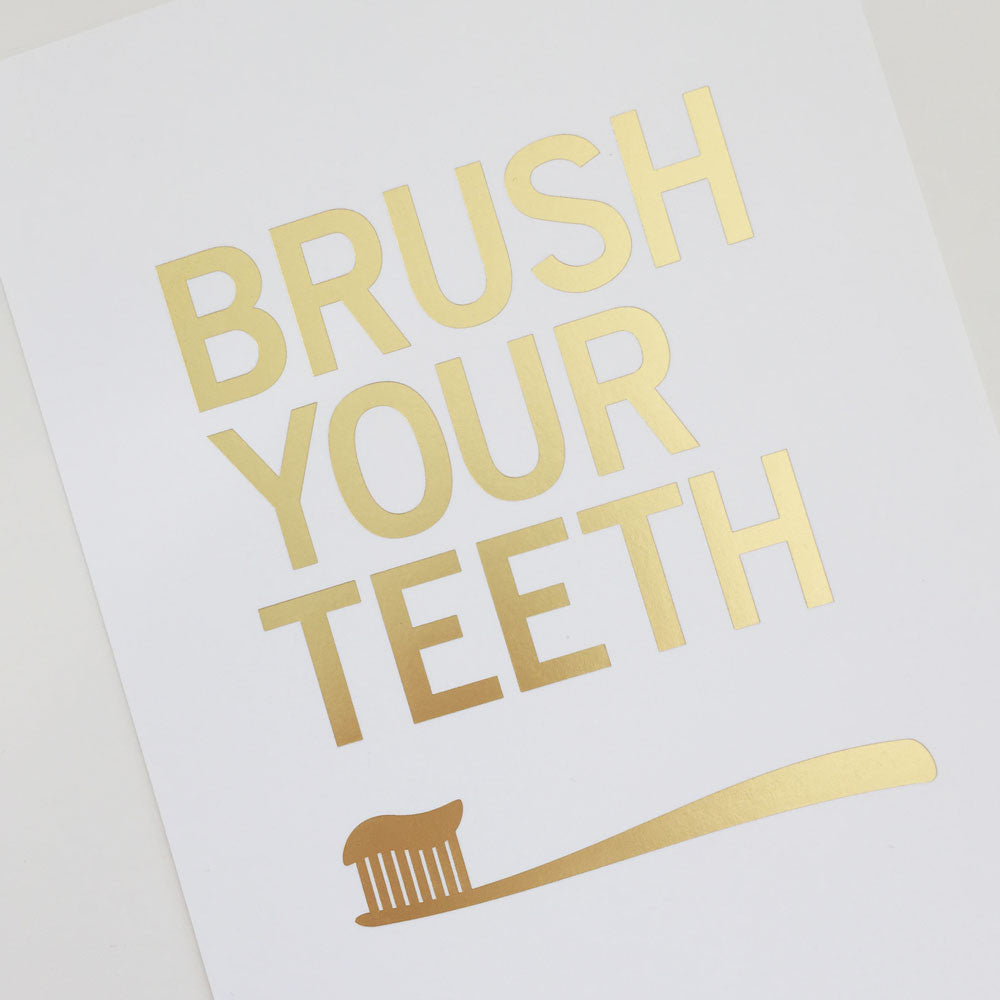 Gold Bathroom Wall Art Print – Brush Your Teeth | Parade and Company